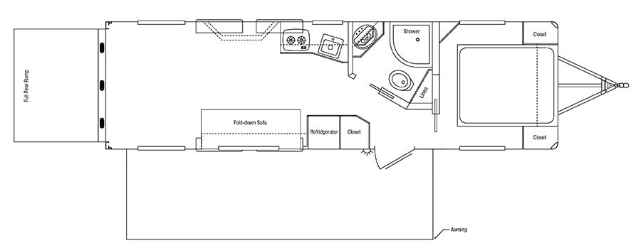 Sundowner Toy Hauler Bumper Pull Trailer Floorplan